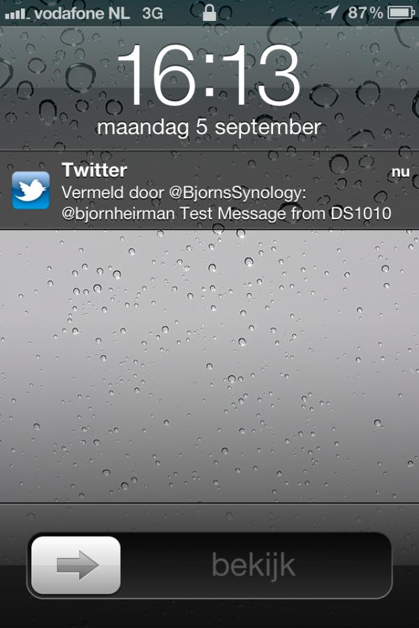 Twitternotificatie voor je (Synology) NAS