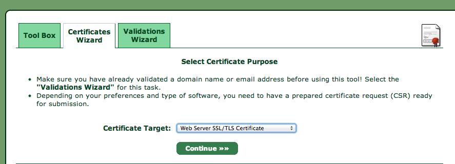 Certificaat aanmaken stap 1