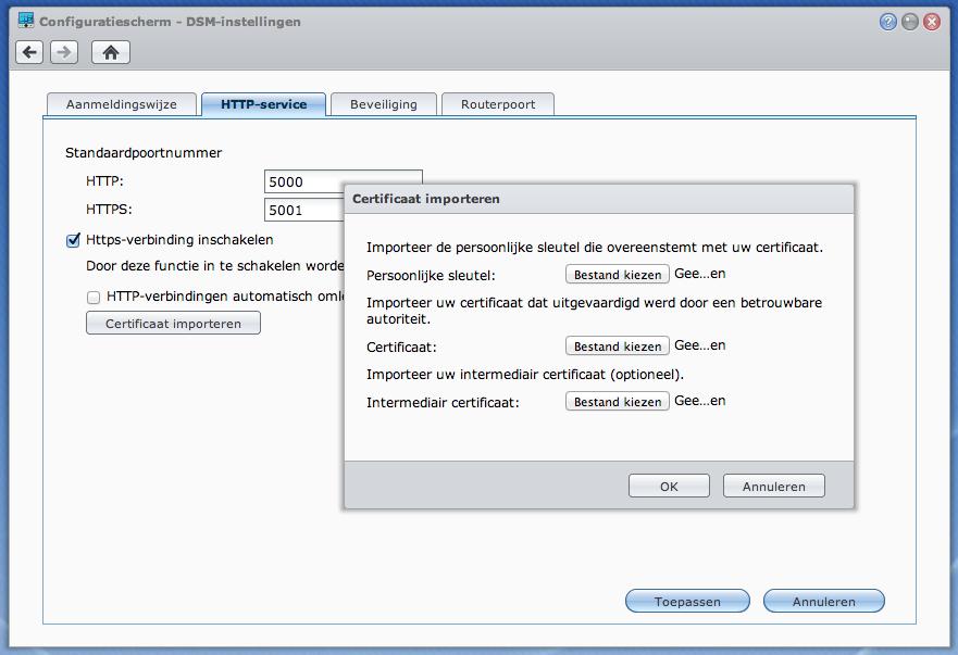 Installeer certificaat in DSM