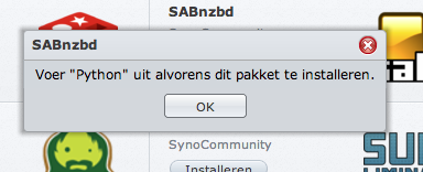 "Fix: Synology DSM 4.2 ""Voer Python uit"" probleem"