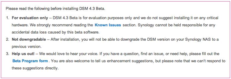DSM 4.3 beta waarschuwing
