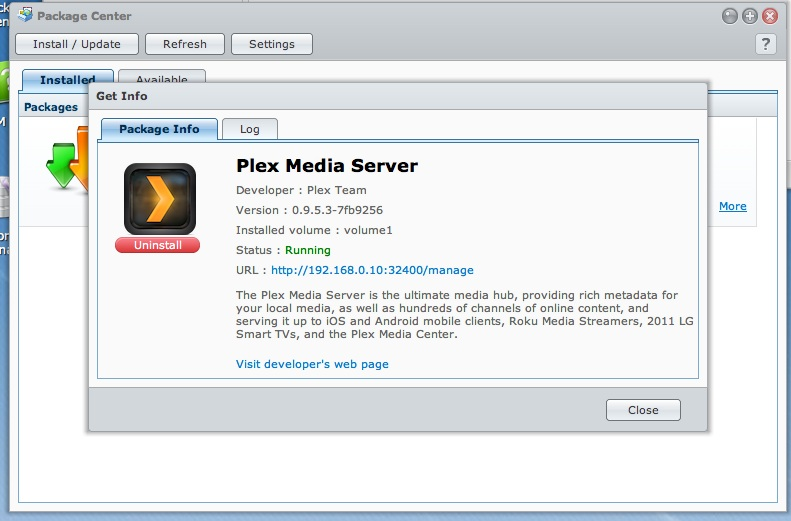 Plex Media Sever op DS214play
