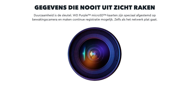 WD Purple; de microSD-kaart voor uw camerasysteem